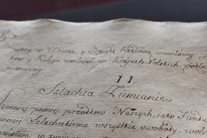 Fragment oryginalnego egzemplarza Konstytucji 3 Maja zzasobu Archiwów Państwowych: Archiwum Głównego Akt Dawnych