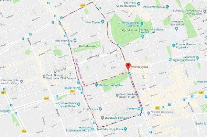 Trasa Parady Równości wGoogle Maps