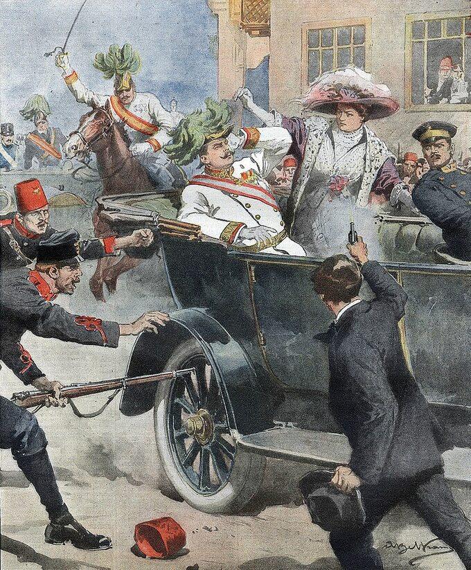 Achille Beltrame, Gavrilo Princip strzela dopary książęcej