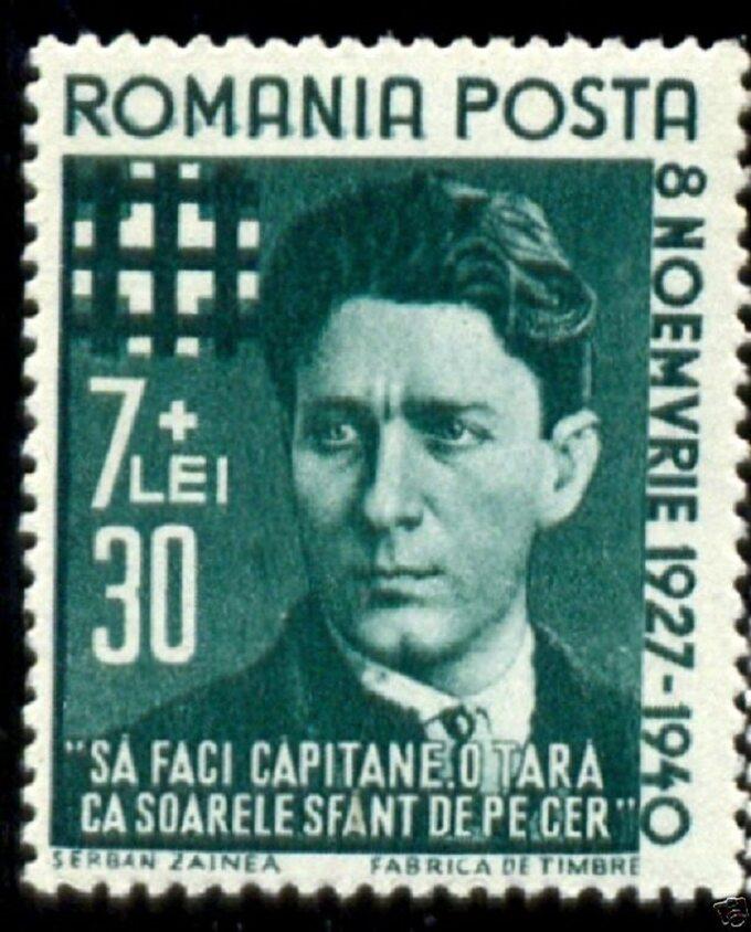 Rumuński znaczek zpodobizną Corneliu Codrenau