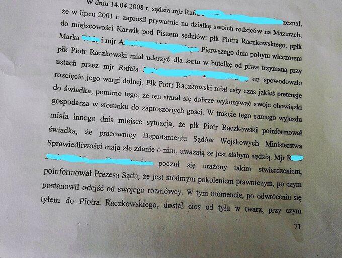 Fragmenty zuzasadnienia Okręgowej Prokuratury Wojskowej wPoznaniu ws. umorzenia niektórych zpostępowań dotyczących sędziego Piotra Raczkowskiego