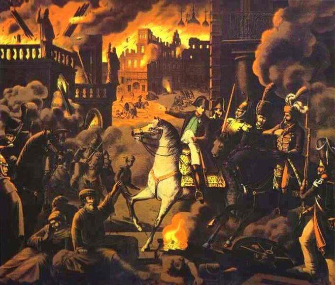 Napoleon wMoskwie. Pożar Moskwy (autor nieznany)