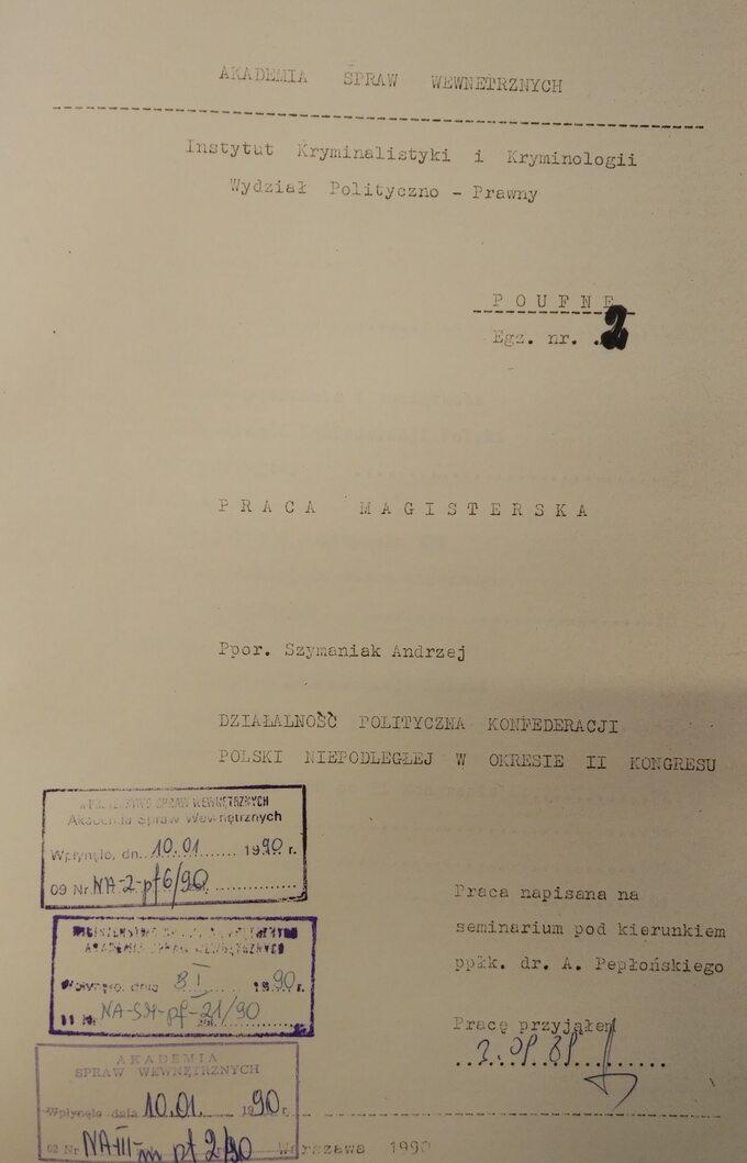 Praca magisterska Andrzeja Szymaniaka