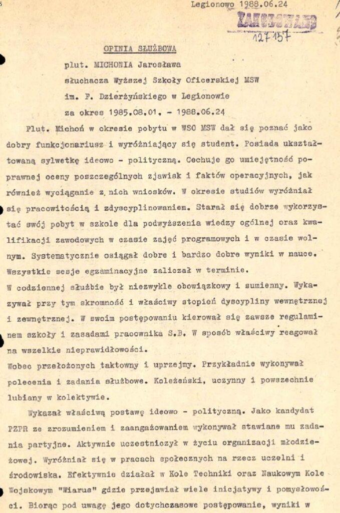 Jarosław Michoń -dokumenty