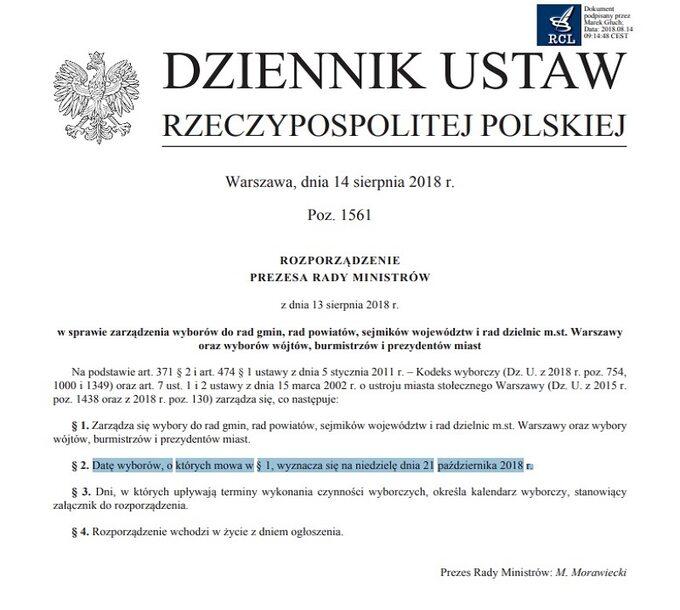Rozporządzenie premiera ws. wyborów samorządowych