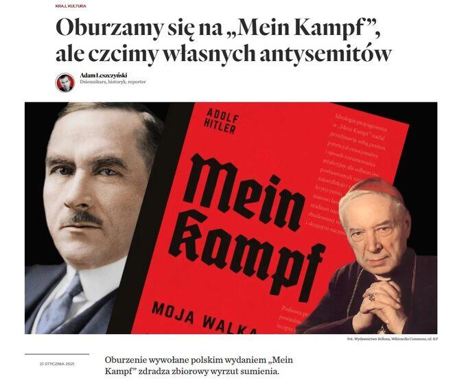 """Polskie wydanie """"Mein Kampf"""". Obok zdjęcie Romana Dmowskiego ikard. Stefana Wyszyńskiego"""