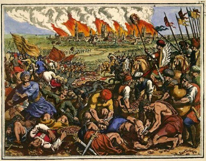 Bitwa podLegnicą namiedziorycie Matthäusa Meriana Starszego, 1630 roku.