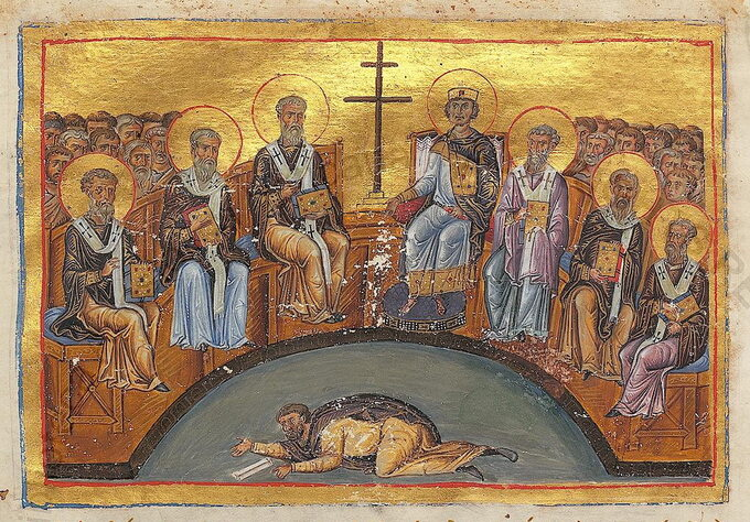 Sobór nicejski II. Wśrodku wpostawie pokutnej Bazyli zAncyry