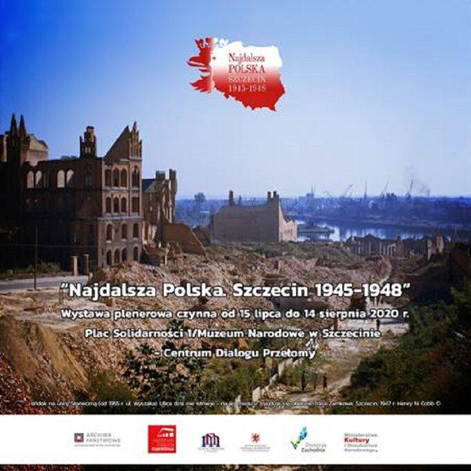 """Plakat promujący wystawę """"Najdalsza Polska. Szczecin 1945-1948"""""""