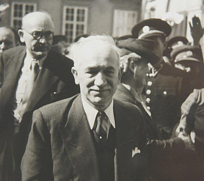 Edvard Beneš podczas wizyty wBrnie, 1938 rok.