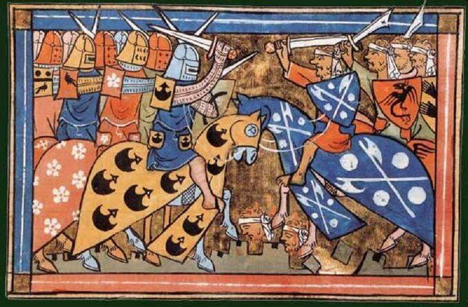 XIV-wieczna miniatura francuska przedstawiająca zmagania krzyżowców