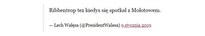 Wpis Lecha Wałęsy naTwitterze