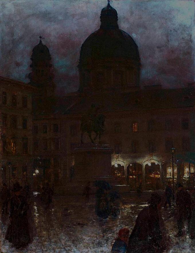 Aleksander Gierymski, Plac Wittelsbachów wMonachium wnocy, 1890 rok, olej/płótno; wymiary: 67 x 52 cm, Muzeum Narodowe wWarszawie.
