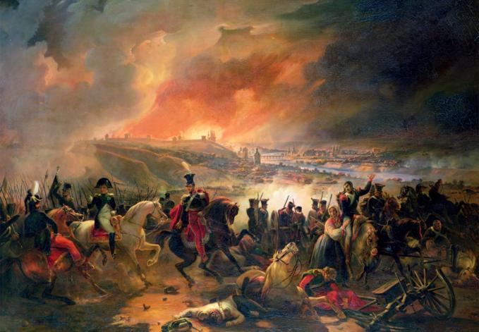 Jean-Charles Langlois, Bitwa podSmoleńskiem (17 sierpnia 1812). Wcentralnej części książę Józef Poniatowski, polewej stronie Napoleon