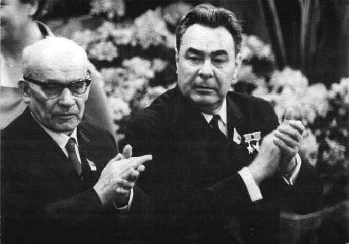 Władysław Gomułka iLeonid Breżniew wNRD, 1967 rok.