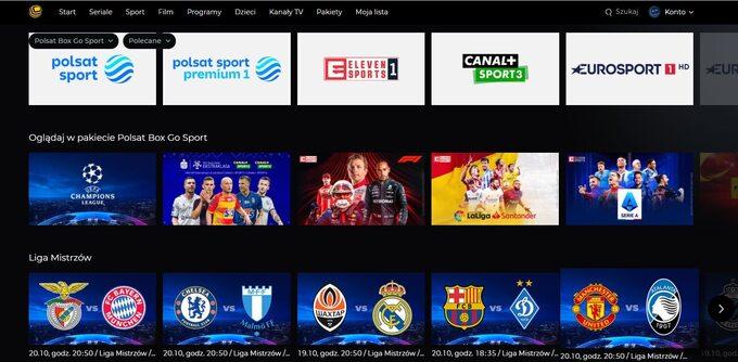 Wserwisie Polsat Box Go dostępne są wszystkie mecze Ligi Mistrzów UEFA