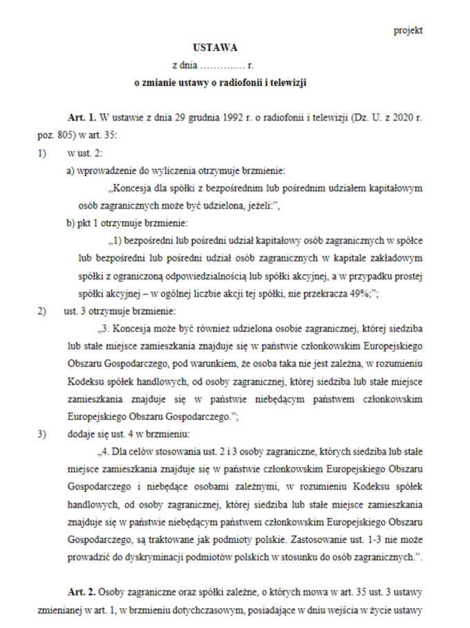 Nowelizacja ustawy oradiofonii itelewizji