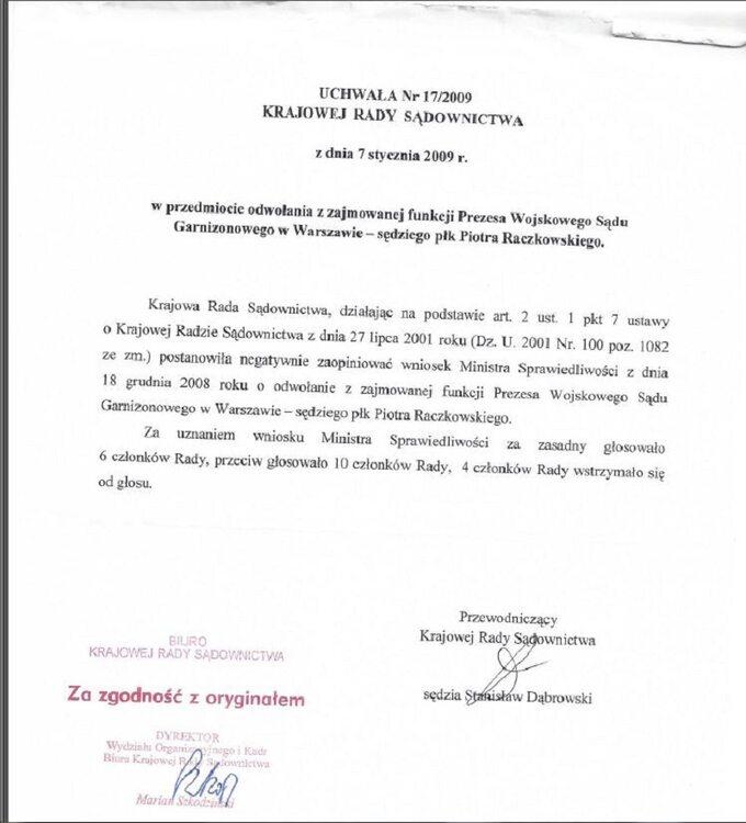 Odpowiedz KRS nawniosek ws odwolania sędziego Raczkowskiego