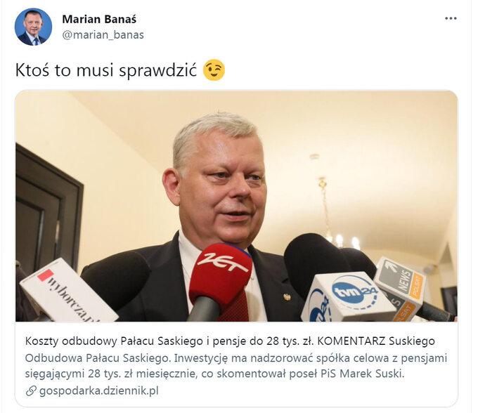 Wpis prezesa NIK Mariana Banasia