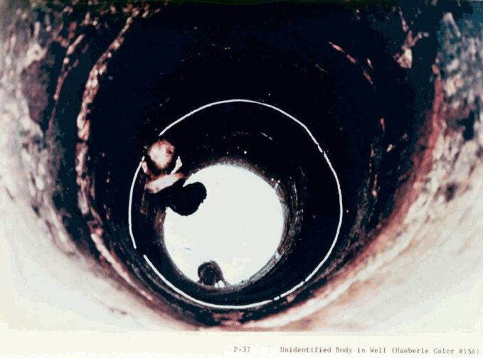Zdjęcie niezidentyfikowanej ofiary wrzuconej dostudni wykonane wMy Lai przez fotografa US Army