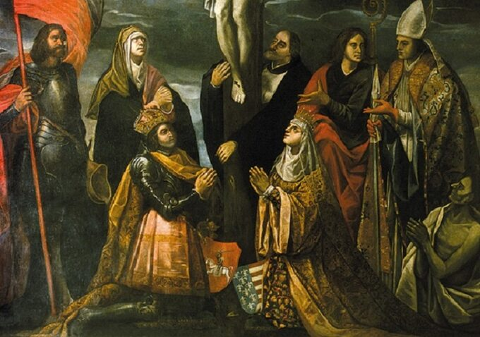 Jadwiga iWładysław podkrzyżem, obraz Tomasza Dolabelli. Ipołowa XVII w.