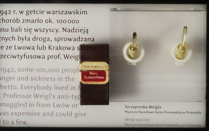 Szczepionka przeciwtyfusowa prof. Rudolfa Weigla wMuzeum Historii Żydów Polskich wWarszawie