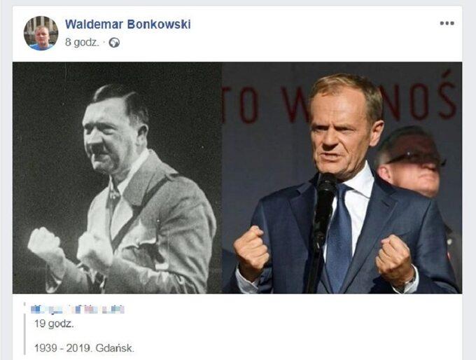 Senator udostępnił zestawienie zdjęć Tuska iHitlera naswoim Facebooku