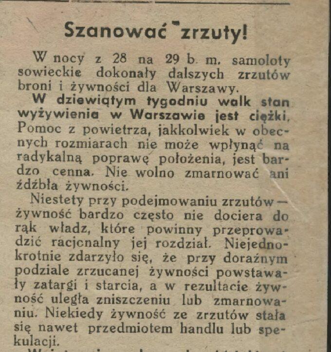 """Fragment """"Biuletynu Informacyjnego"""" z30 września 1944 roku."""