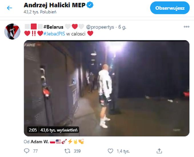Andrzej Halicki polubił wulgarny wpis