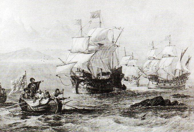 Wyprawa Magellana wczasie przeprawy przez Cieśninę Wszystkich Świętych (Cieśninę Magellana)