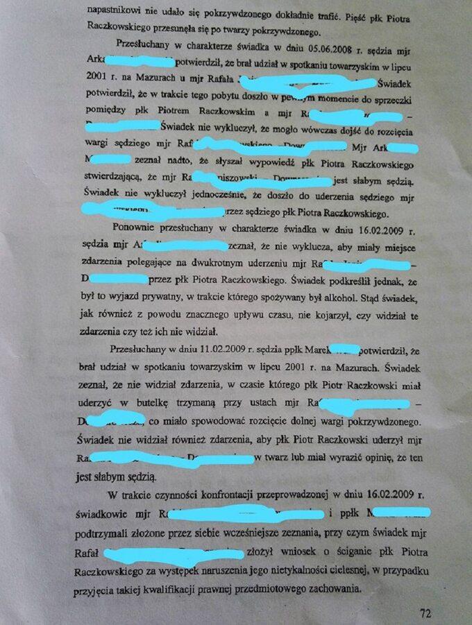 Fragmenty zuzasadnienia Okręgowej Prokuratury Wojskowej wPoznaniu ws umorzenia niektórych zpostępowań dotyczących sędziego Piotra Raczkowskiego