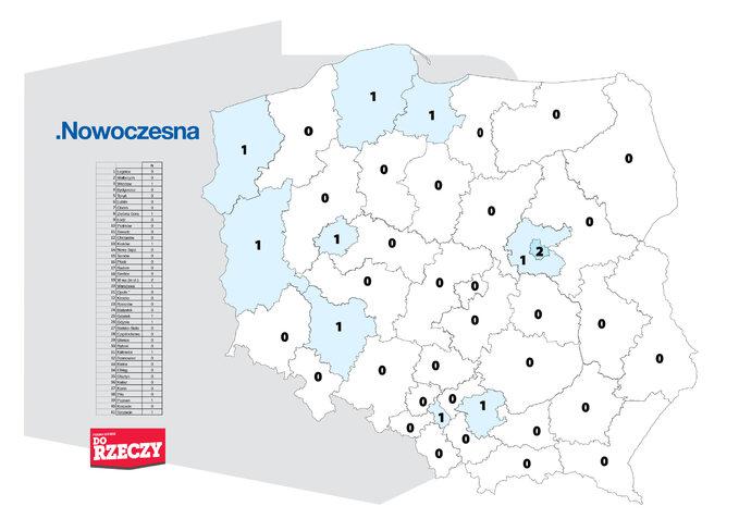 Ilość mandatów, które uzyskałaby Nowoczesna wokręgach wyborczych
