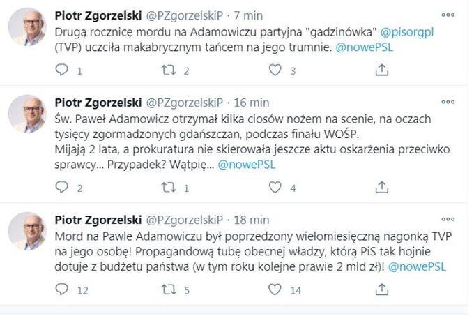 Piotr Zgorzelski przy okazji drugiej rocznicy śmierci prezydenta Gdańska oskarża TVP onagonkę nazmarłego orazbroni wizerunku samorządowca.