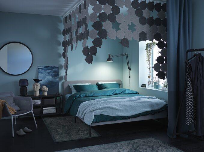 Sypialnia turkusowa