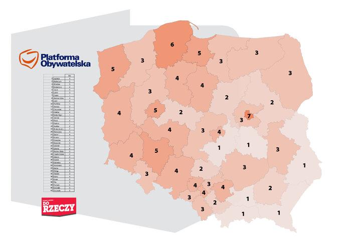 Ilość mandatów, które uzyskałaby PO wokręgach wyborczych