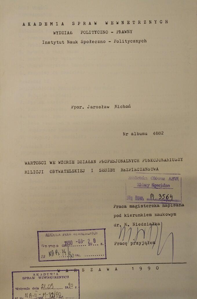 Praca magisterska Jarosława Michonia