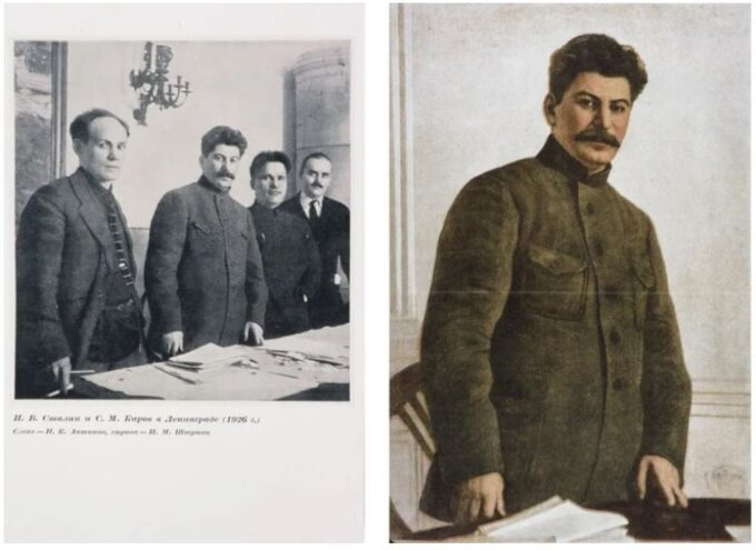 N. Antipow, J. Stalin, S. Kirow, N. Szwernik. Obok tosamo zdjęcie, alewszystkie postaci oprócz Stalina są usunięte.