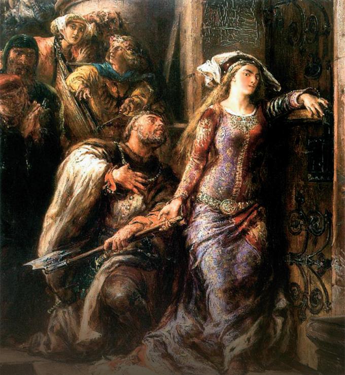 """Jan Matejko """"Królowa Jadwiga iDymitr zGoraja"""", 1882r., olej/tektura, 46 x 38 cm"""