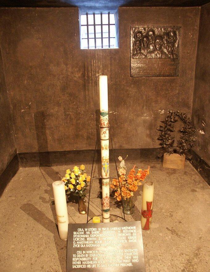 Cela śmierci św. Maksymilina Marii Kolbego wobozie Auschwitz