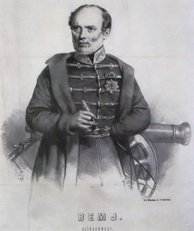 Gen. Józef Bem wczasie powstania węgierskiego (1848-49). Autor ryciny: Barabás Miklós.