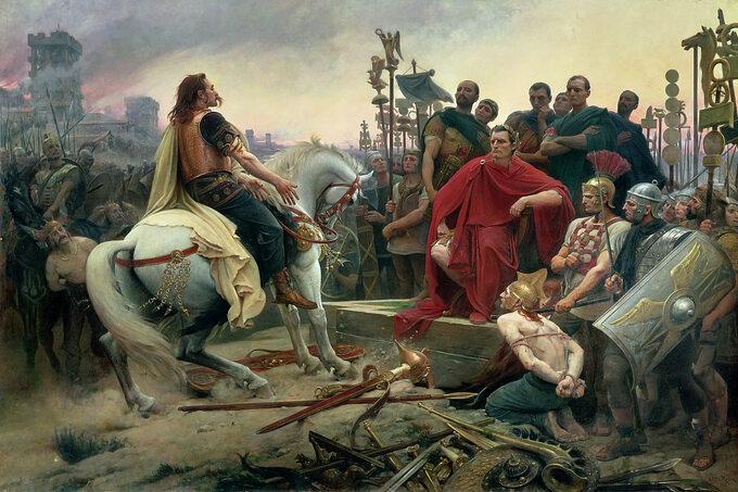 Juliusz Cezar iVercingetorix pobitwie podAlezją naobrazie Lionela Royera
