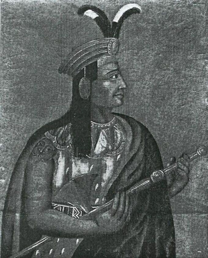 Atahualpa, ostatni władca Inków. Rysunek z1533 roku