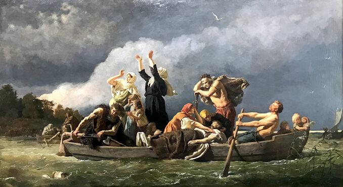 """Wojciech Gerson, """"Bez ziemi. Pomorzanie wyparci przez Niemców nawyspy Bałtyku"""", 1888 rok, olej/płótno; wymiary: 114,5 x 207 cm, Muzeum Narodowe wSzczecinie."""
