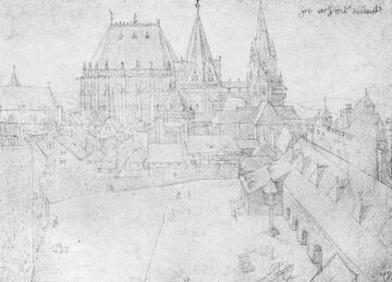 Albrecht Dürer, Katedra w Akwizgranie. Widok z około 1520 r.