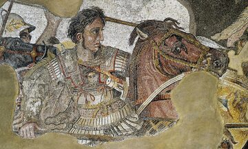 Aleksander Wielki podczas bitwy pod Issos (333 p.n.e.). Fragment tzw. mozaiki Aleksandra z Domu Fauna w Pompejach