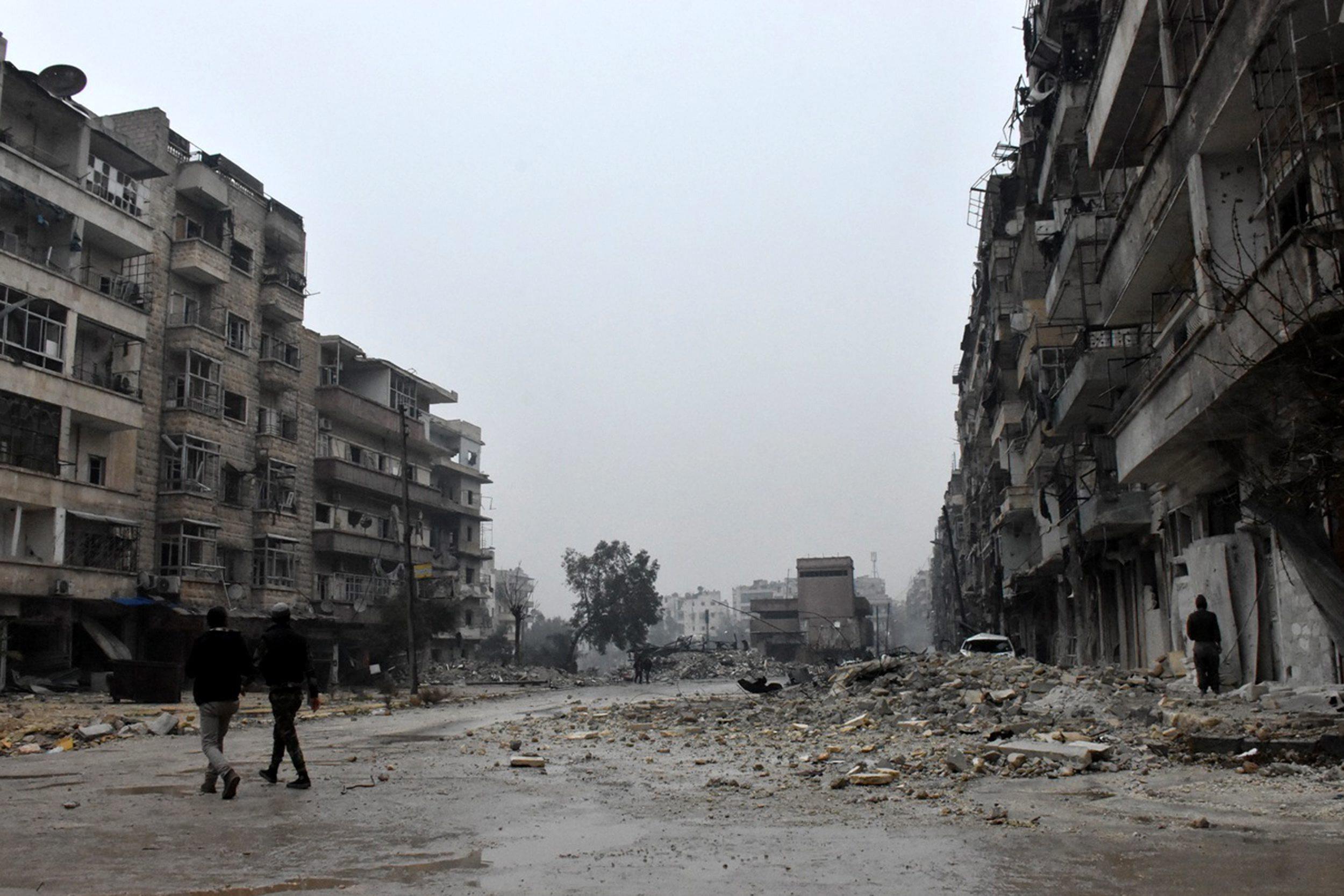 Aleppo zniszczone bombardowaniami