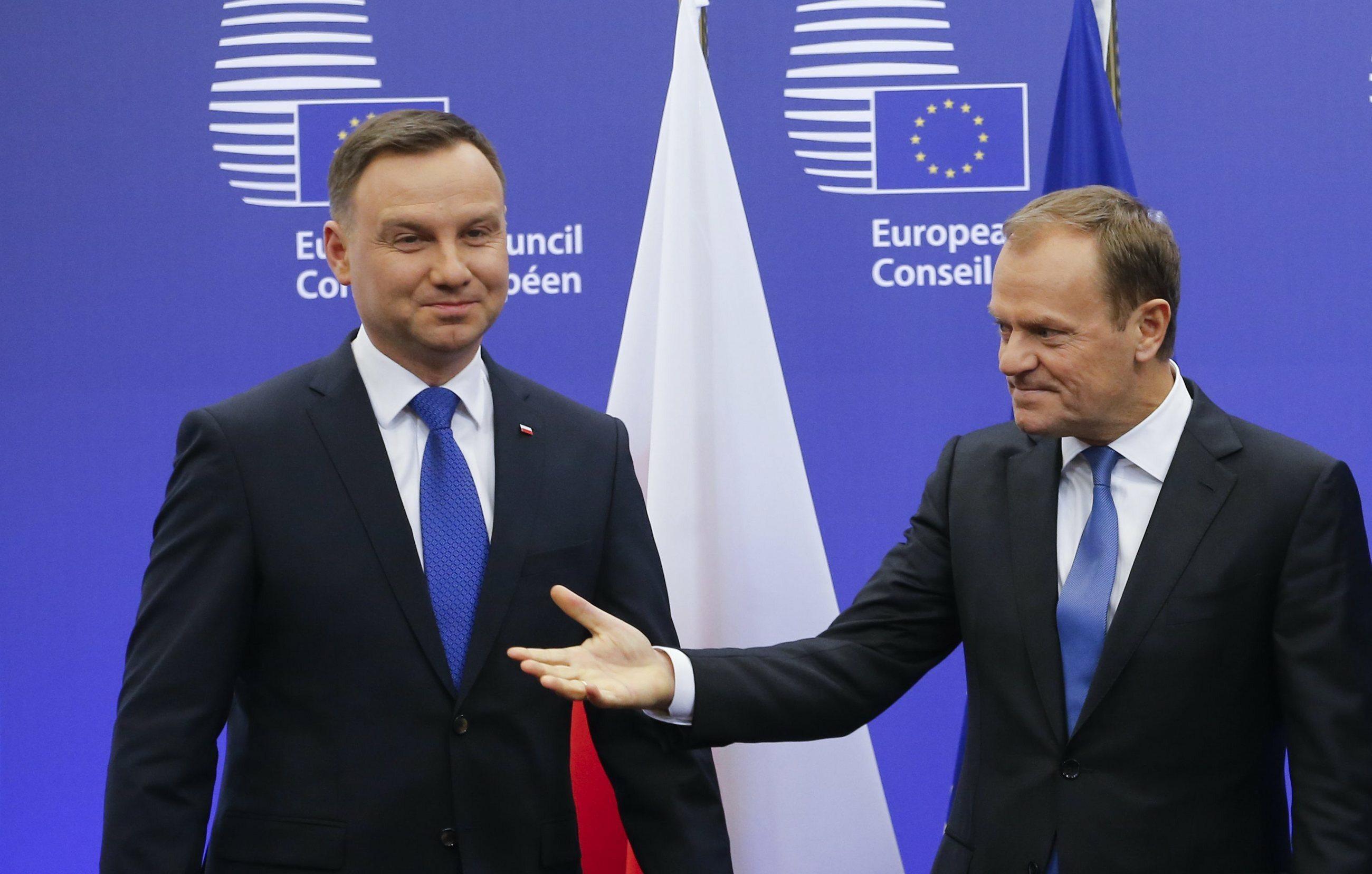 Andrzej Duda i Donald Tusk podczas spotkania w Brukseli