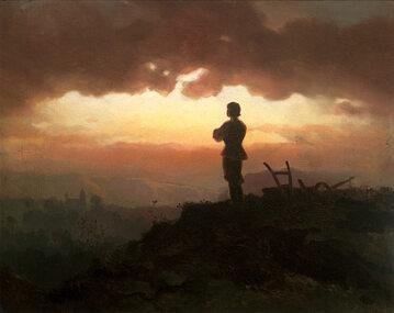Artur Grottger Modlitwa wieczorna rolnika (1865 rok), olej/płótno; wymiary: 45 cm x 35 cm, Muzeum Narodowe w Krakowie.