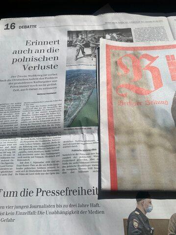 """Artykuł """"Pamiętajcie o polskich stratach!"""" w dzienniku """"Berliner Zeitung"""""""
