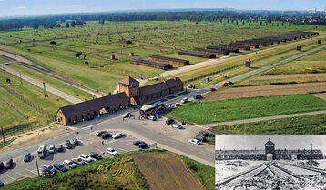 Auschwitz II-Birkenau obecnie i w 1945 r.